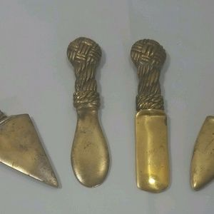 Lot of 4 Vintage Brass Celtic Style Cheese Knives